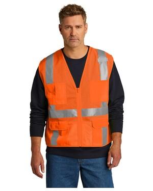 ANSI 107 Class 2 Mesh Six-Pocket Zippered Vest.