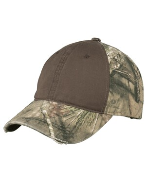 Camo hat with Contrast Front Panel.