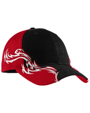 Colorblock Racing Cap with Flames.