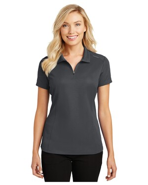 Ladies Pinpoint Mesh Zip Polo Shirt