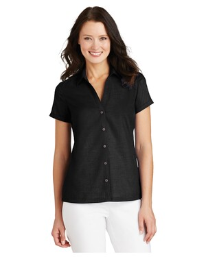 Ladies Textured Camp Shirt.