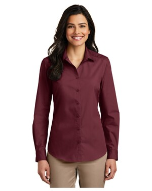 Ladies Long Sleeve Carefree Poplin Shirt.