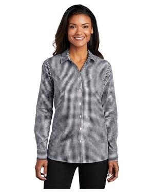 Ladies Broadcloth Gingham Easy Care Shirt