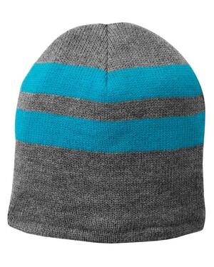 Fleece-Lined Striped Beanie Cap.