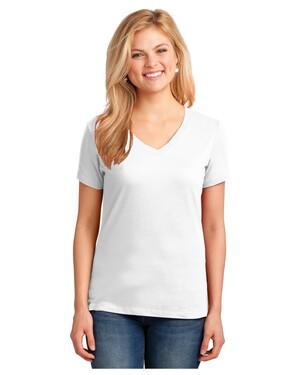 Ladies 5.4-oz 100% Cotton V-Neck T-Shirt
