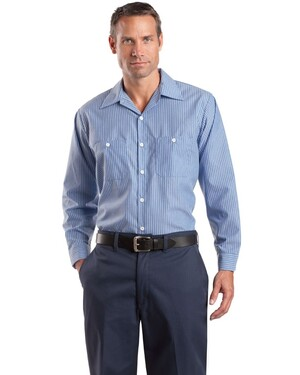 Long Sleeve Striped Industrial Work Shirt
