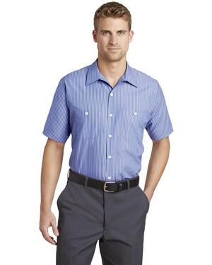 Short Sleeve Striped Industrial Work Shirt.