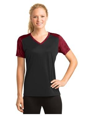 Ladies CamoHex Colorblock V-Neck T-Shirt