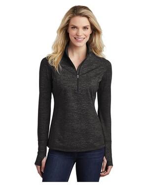 Ladies Sport-Wick Stretch Reflective Heather 1/2-Zip Pullover