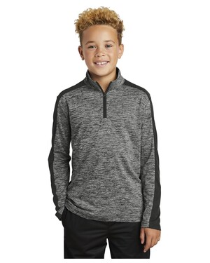 Youth PosiCharge Electric Heather Colorblock 1/4-Zip Pullover.