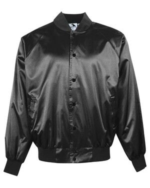 Satin Baseball Jacket with Solid Trim