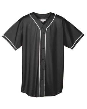 Button-Up Baseball Jersey With Braid Trim
