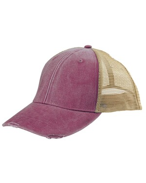 6-Panel Pigment-Dyed Distressed Trucker Cap