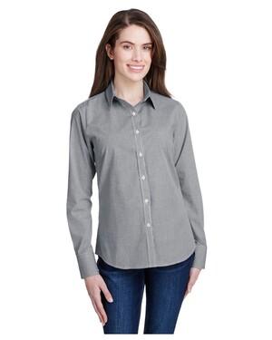 Women's Microcheck Gingham Long-Sleeve Cotton Shirt