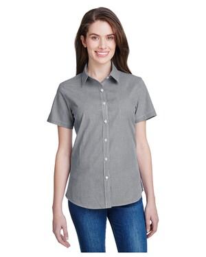 Ladies' Microcheck Gingham Short-Sleeve Cotton Shirt
