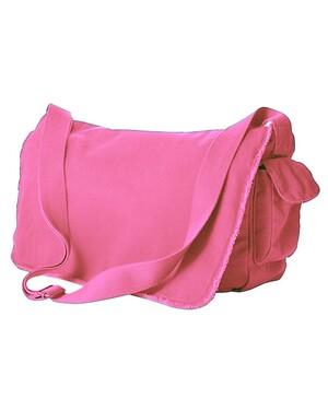 Pigment-Dyed Raw-Edge Messenger Bag