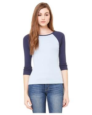Women's 1x1 Baby Rib 3/4-Sleeve Contrast Raglan T-Shirt