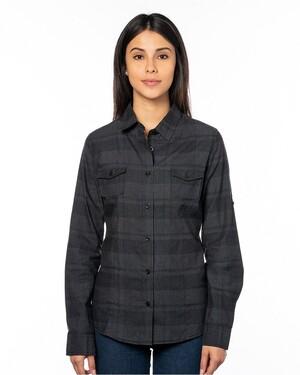 Women's Long-Sleeve Plaid Pattern Woven
