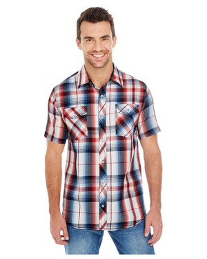 Men's Short-Sleeve Plaid Pattern Woven