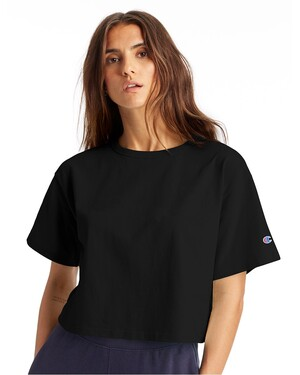 Ladies' Cropped Reverse Weave T-Shirt