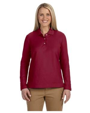 Women's Pima Pique Long-Sleeve Polo Shirt