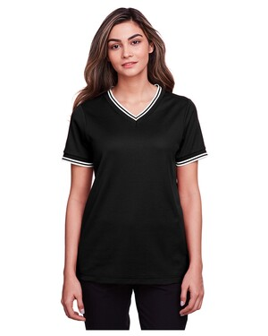 Ladies' CrownLux Performance™ Plaited Tipped V-Neck Polo