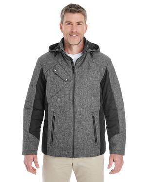 Men's Midtown Insulated Fabric-Block Jacket with Crosshatch Mélange