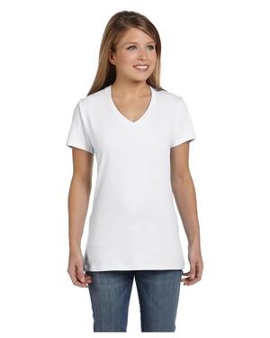 Ladies  4.5 oz., 100% Ringspun Cotton nano-T V-Neck T-Shirt