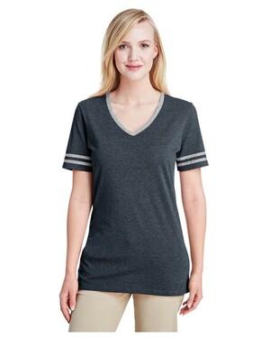 Ladies' 4.5 oz. TRI-BLEND Varsity V-Neck T-Shirt