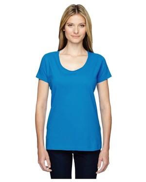 Women's Fine Jersey Deep Scoop Neck Longer Length Modern Fit  T-Shirt