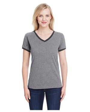 Women's Soccer Ringer Fine Jersey T-Shirt