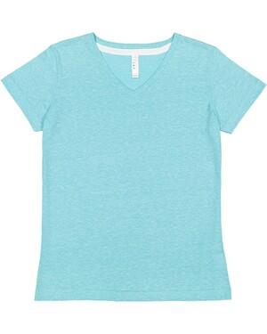 Ladies' V-Neck Harborside Melange Jersey T-Shirt