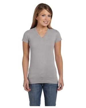 Ladies  Junior Fine Jersey V-Neck Longer  T-Shirt