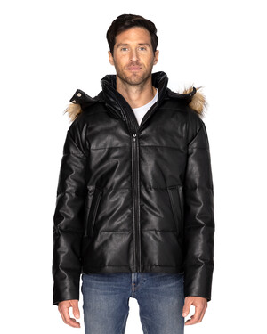 Unisex Vegan Leather Puffer Jacket