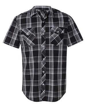 Short Sleeve Button-Up Plaid Shirt