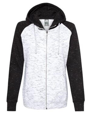 Women's Mélange Fleece Colorblocked Full-Zip Sweatshirt