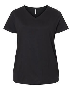 Curvy Collection Women's Fine Jersey V-Neck T-Shirt