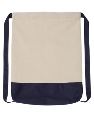 Cotton Canvas Contrast Bottom Drawstring Backpack