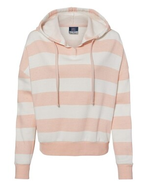 Women's Striped Fleece Boxy Hooded Sweatshirt