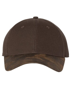 Canvas Crown Cap with Weathered Camo Visor