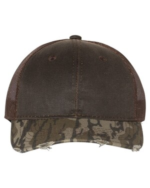Distressed Camo Mesh-Back Cap