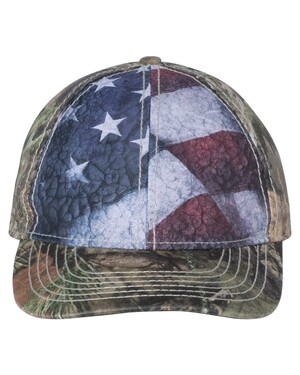 Camo Hat with Flag Sublimated Front Panels