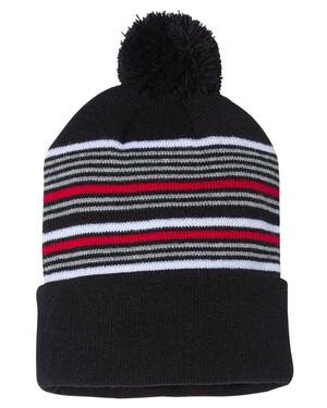 """12"""" Striped Pom-Pom Knit Hat"""