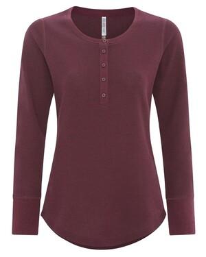 ESActive® Vintage Thermal Long Sleeve Ladies' Henley Shirt
