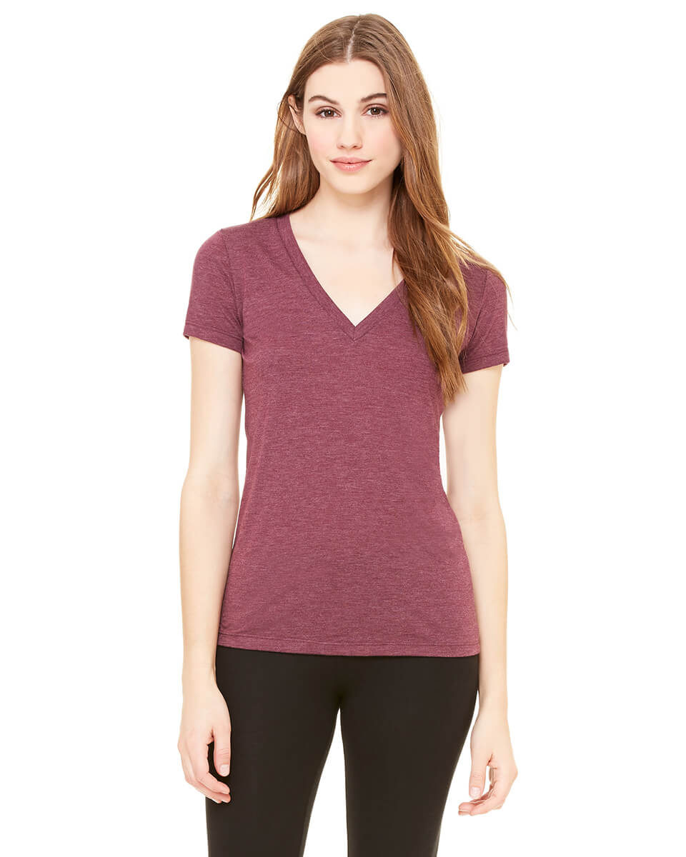Bella + Canvas 8435 Women's Tri-Blend Deep V-Neck T-Shirt