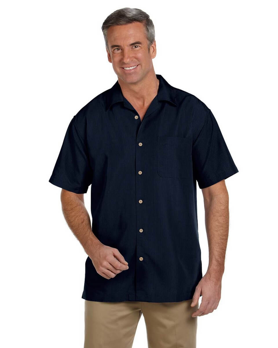 Harriton M560 Men's Barbados Textured Camp Shirt