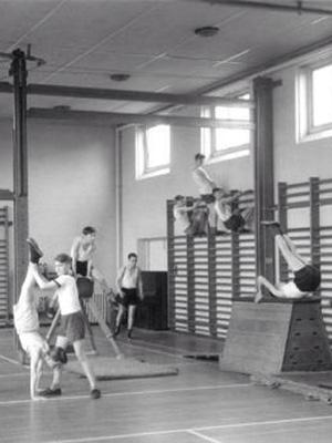 retro high school gym