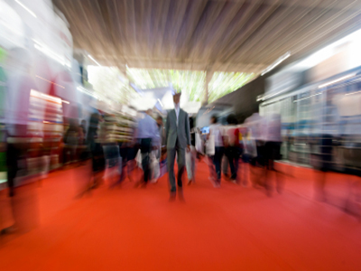 walking around a trade show